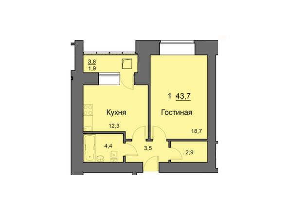 Планировки Жилой комплекс SKY SEVEN, б/с 7, 2 оч - Планировка однокомнатной квартиры 43,7 кв.м
