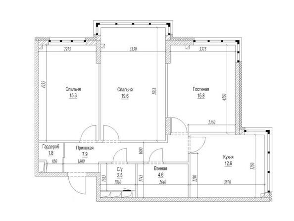 Планировка 3-комн 83,7 м²