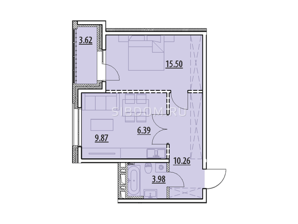 Планировка 1-комн 0, 49,62 м²