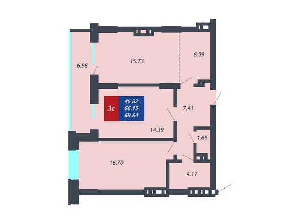 Планировка 3-комнатной квартиры 66,15, 65,54 и 62,5 кв.м