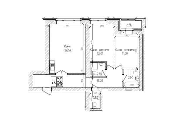 Планировки Жилой комплекс КРАСНЫЙ ПРОСПЕКТ, дом 4 - 2-комнатная 74,5 кв.м