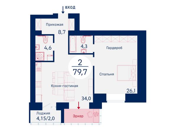 Планировки Микрорайон SCANDIS (Скандис), дом 1 - Планировка двухкомнатной квартиры 79,7 кв.м