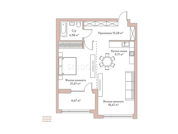 Планировка 2-комн 67,06 м²