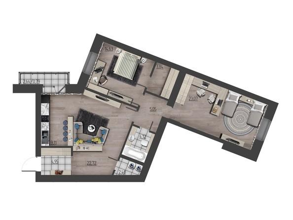 Планировки Жилой комплекс ПРЕОБРАЖЕНСКИЙ, дом 9 - 3-комнатная 90,76 кв.м
