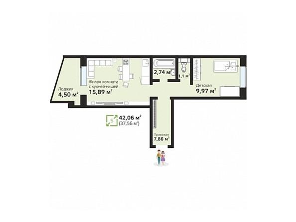 Планировки Жилой комплекс ЧИСТАЯ СЛОБОДА, дом 17 - Планировка двухкомнатной квартиры 42,06 кв.м