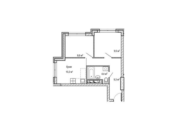 Планировки Жилой комплекс ЮЖНЫЙ, дом «Сапфировый» - Планировка однокомнатной квартиры 43,8 кв.м
