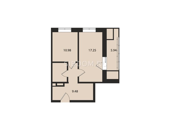 Планировки Жилой комплекс ВДОХНОВЕНИЕ - Планировка однокомнатной квартиры 50,2 кв.м