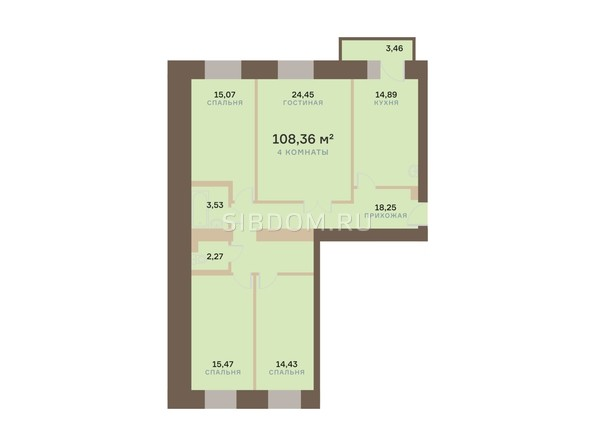 Планировка 4-комн 108,36 м²
