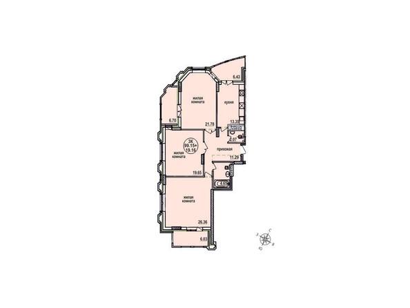 Планировки Жилой комплекс ЗАЕЛЬЦОВСКИЙ, 1 этап - Планировка трехкомнатной квартиры 99,15 кв.м