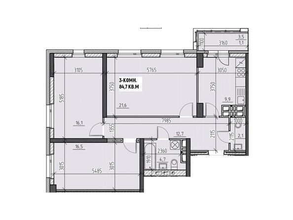 Планировки Жилой комплекс НА ВЫСОТЕ, 2 этап - Планировка трехкомнатной квартиры 84,7 кв.м