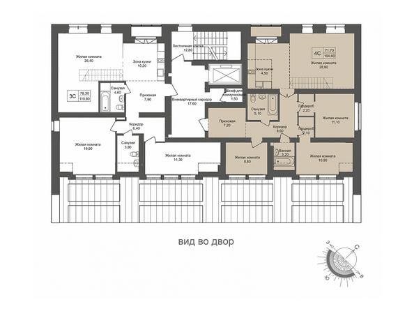 Планировки Жилой комплекс ОНЕГА, дом 4 - 4-комнатная 104.6 кв.м