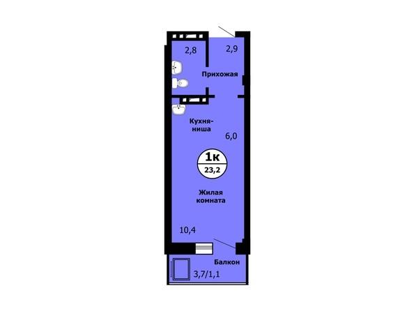Планировка Студия 23 - 23,4 м²