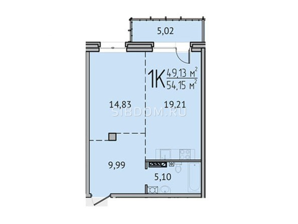 1-комнатная 54,15 кв.м