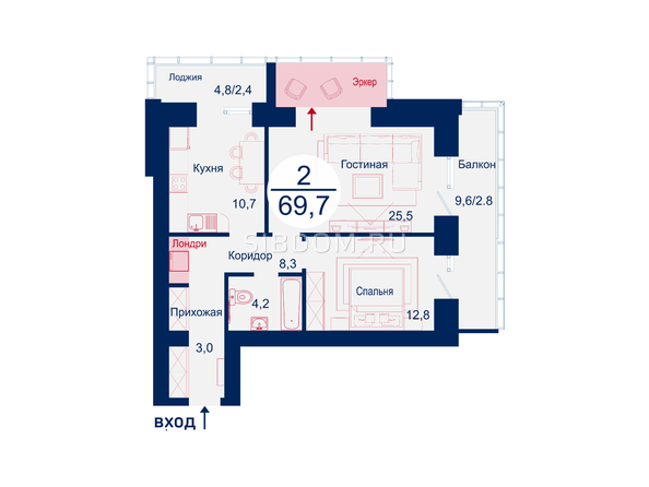Планировки Жилой комплекс SCANDIS (Скандис), дом 5 - Планировка двухкомнатной квартиры 69,7 кв.м