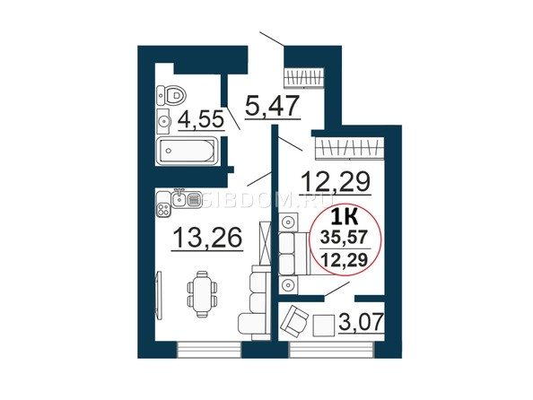 Планировка 1-комн 34,39 - 35,57 м²