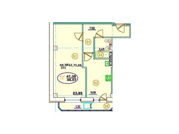 Планировка 1-комн 47,39 м²
