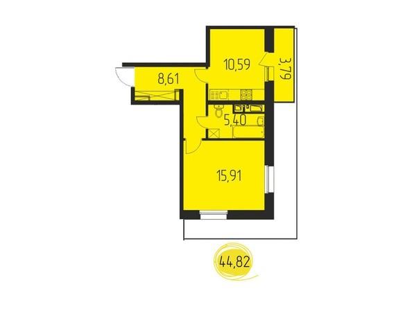 1-комнатная 44,82 кв.м