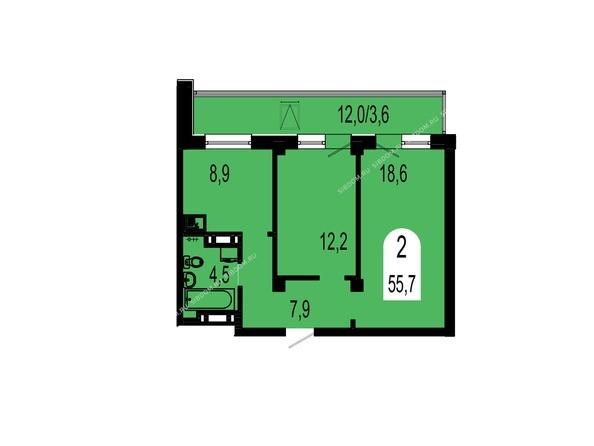 Планировки Жилой комплекс ТИХИЕ ЗОРИ, дом 1 (Красстрой) - Планировка двухкомнатной квартиры 55,7 кв.м