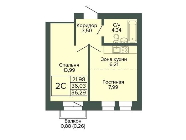 Планировка 2-комн 36,29 м²