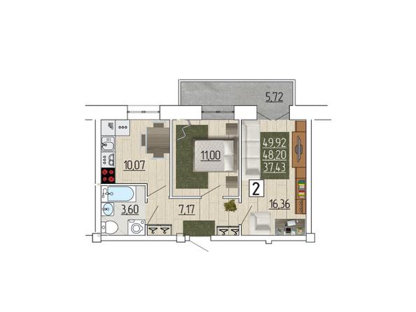 Планировка 2-комн 49,92 м²