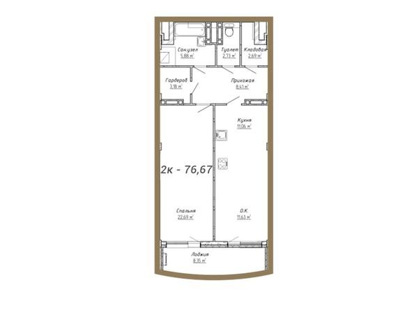 Планировки Жилой комплекс ДОМ НА СИБИРСКОЙ - Планировка двухкомнатной квартиры 76,67 кв.м