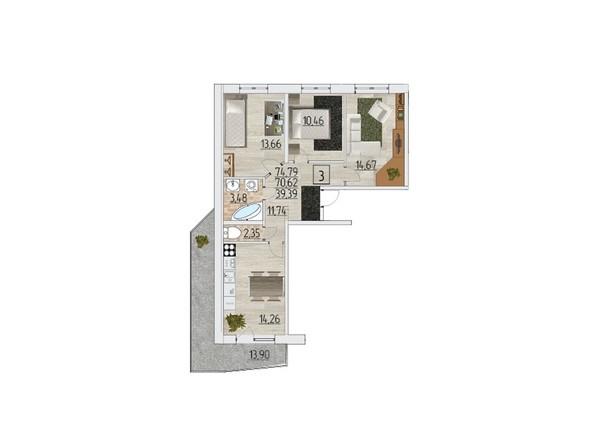 Планировка трехкомнатной квартиры 74,79 кв.м
