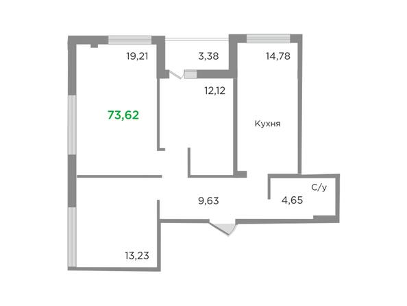 Планировки Жилой комплекс ЯСНЫЙ БЕРЕГ, дом 10, б/с 1-3  - Планировка трехкомнатной квартиры 73,62 кв.м