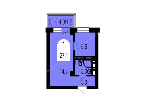 Планировки Жилой комплекс ТИХИЕ ЗОРИ, дом 1 (Красстрой) - Планировка однокомнатной квартиры 27,1 кв.м