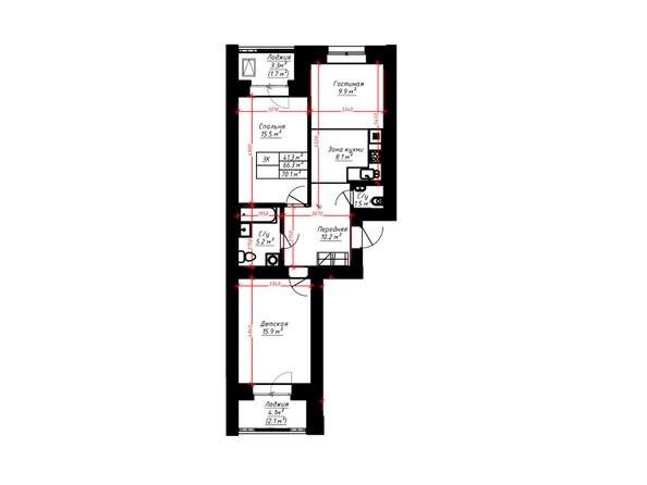 3-комнатная 70.1 кв.м