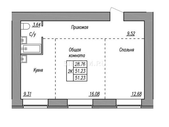 Планировка 2-комн 51,23 м²