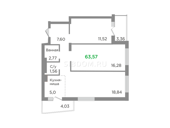 Планировка 3-комн 63,57 м²