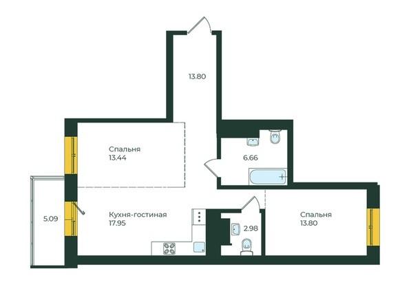 3-комнатная 73,72 кв.м.
