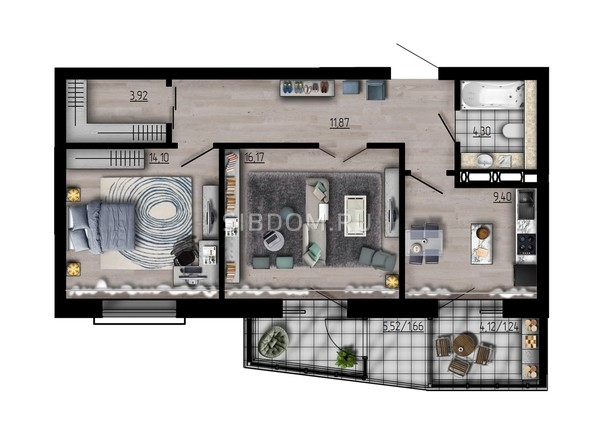 Планировка двухкомнатной квартиры 62,66 кв.м