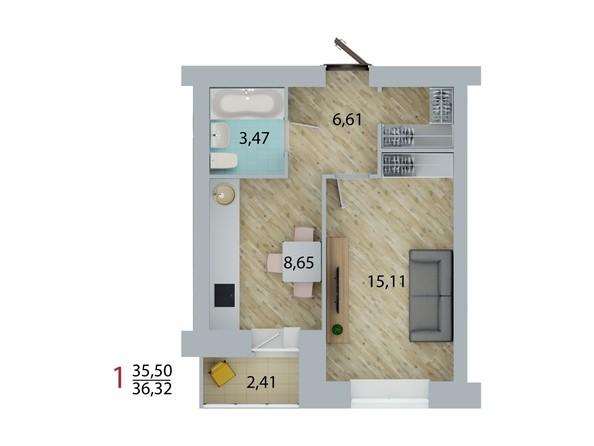Планировка 1-комн 36,32 м²