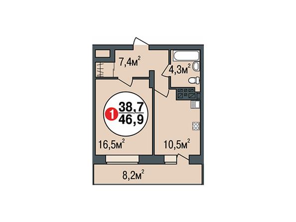 Планировки Жилой комплекс ПОКРОВСКИЙ, б/с 3, 4, 5 - Планировка однокомнатной квартиры 46,9 кв.м