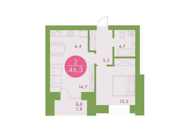 2-комнатная 46,3 кв.м