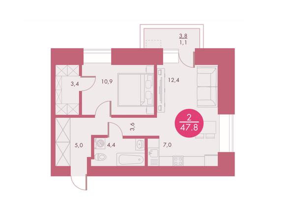 Планировка двухкомнатной квартиры 47,8 кв.м