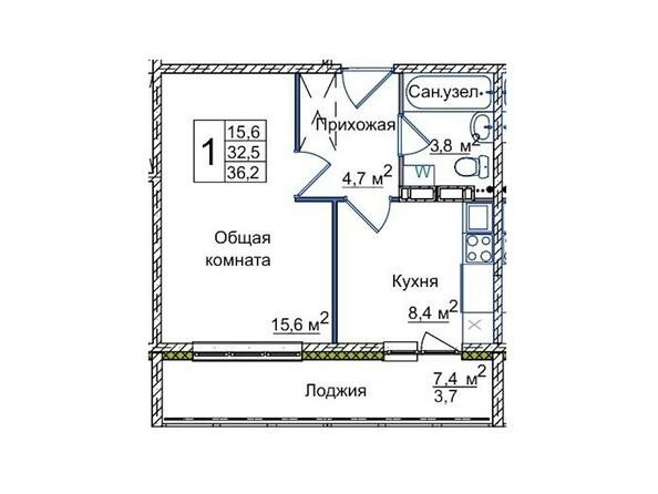 Планировки ВОСТОЧНЫЙ, 84/3 - 1-комнатная 36,2 кв.м
