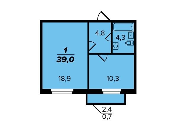 1-комнатная 39 кв.м. 2 секция