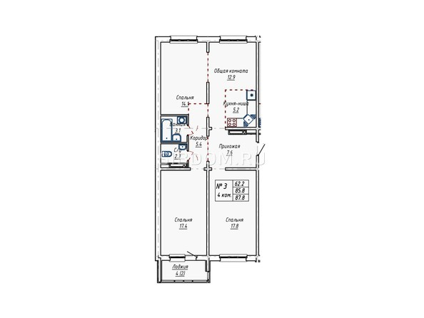 Планировки Жилой комплекс АКВАРИУМ - Планировка трёхкомнатной квартиры 87,8 кв.м