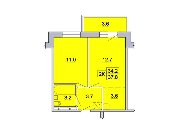 2-комнатная 37,8; 38,1 кв.м