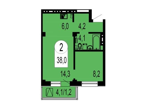 Планировка 2-комнатной студии 38 кв.м