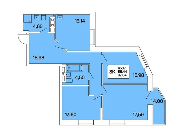 3-комнатная 87,64 кв.м