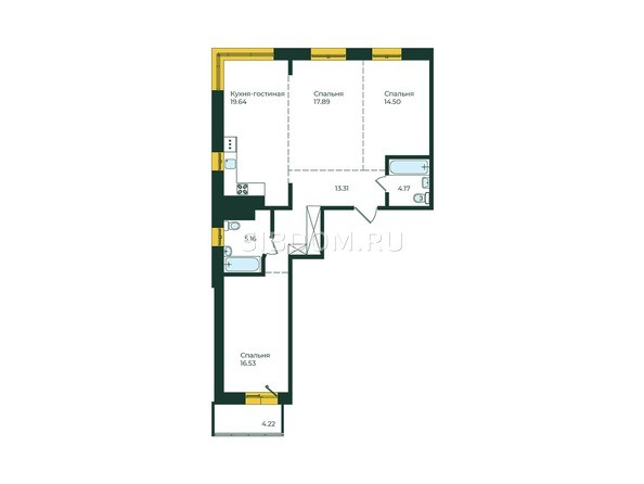 3-комнатная 95,42 кв.м