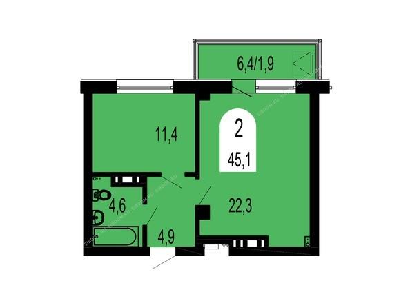 Планировки Жилой комплекс ТИХИЕ ЗОРИ, дом 1 (Красстрой) - Планировка двухкомнатной квартиры 45,1 кв.м