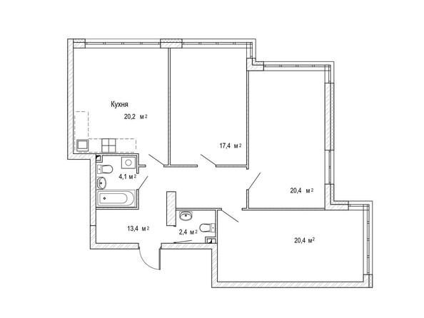 Планировка трёхкомнатной квартиры 101,2 кв.м