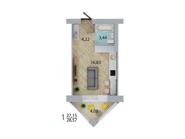 Планировка 1-комн 28,28, 28,54 м²