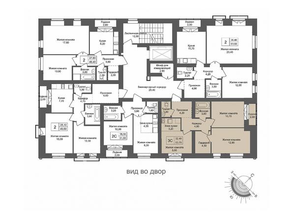 Планировки Жилой комплекс ОНЕГА, дом 4 - 3-комнатная 53,7 кв.м