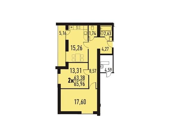 2-комнатная 65.96 кв.м