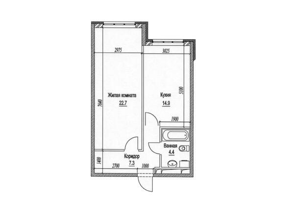 1-комнатная 50.7; 51.2 кв.м